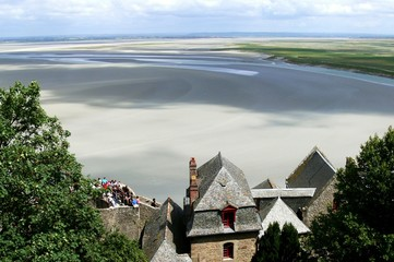 Bay of the Mont Saint-Michel at low tide, Normandy, France