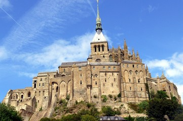 Close view of Abbey of Mont Saint-Michel, Normandy, France