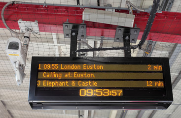 Electronic Timetable on London Railway Platform with Security Ca
