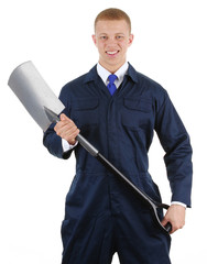 Workman with a spade