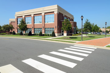 Office building with pedestrian crosswalk