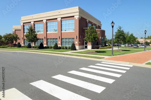 Office building with pedestrian crosswalk