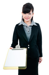 Young Businesswoman Presenting Clipboard