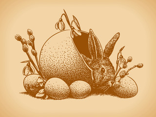 Easter Bunny Vintage Style. Vector illustration