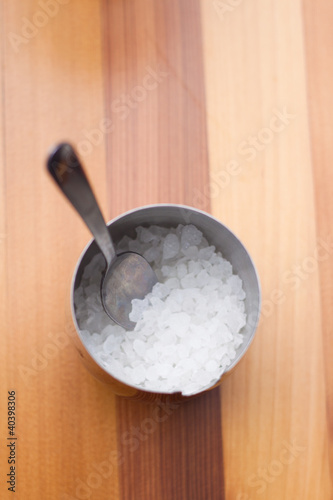 Stainless steel bowl of sugar