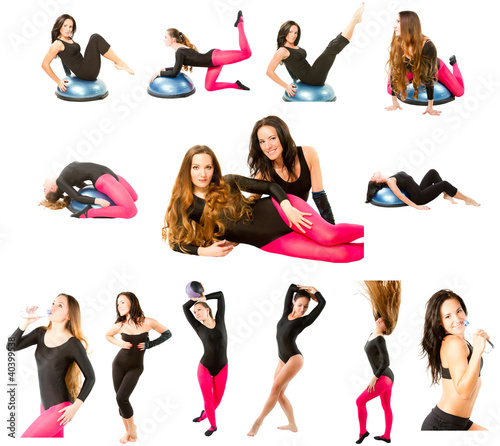 two fitness women make stretch on yoga and pilates pose