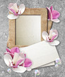 Grunge frame with roses and paper