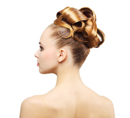 Creative hairstyle isolated on white background