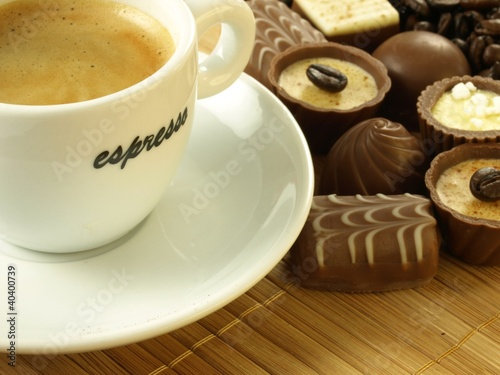 Coffee with chocolates, closeup