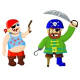 funny cartoon pirates - vector illustration