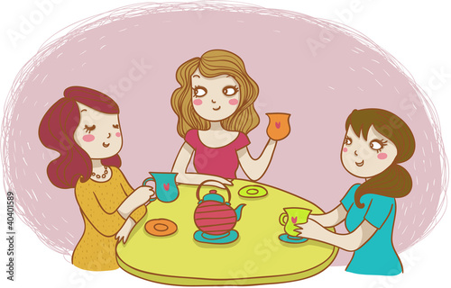 tre amiche prendono il tè