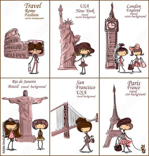 Mody dziewczyny kreskówka podróżuje świat, wektorowy tło