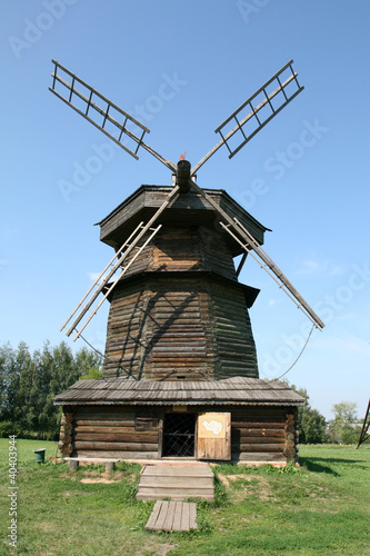 Old wooden windmill in Suzdal Russia