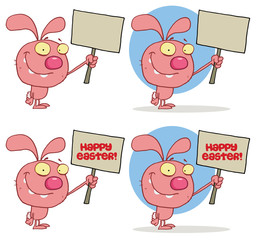 Cute Rabbit Holding Up A Blank Sign. Vector Collection