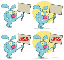Happy Rabbit Holding Up A Blank Sign. Collection