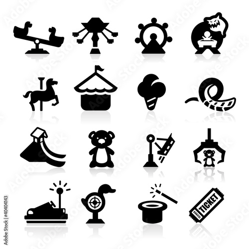 Amusement Park icons set elegant series