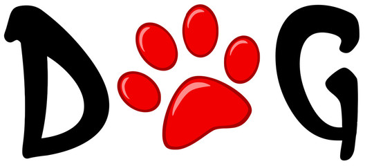 Dog Text With Red Paw Print