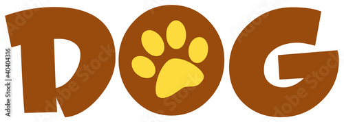 Brown Dog Text With Paw Print