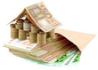 concept coût immobilier, billets, maison