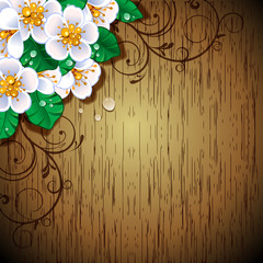 Fiori bianchi su pannello di legno-White flowers on wood panel