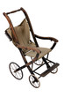Old vintage styled baby carriage-stroller on white background