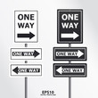 vector  traffic sign one way