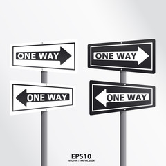 traffic sign one way vector