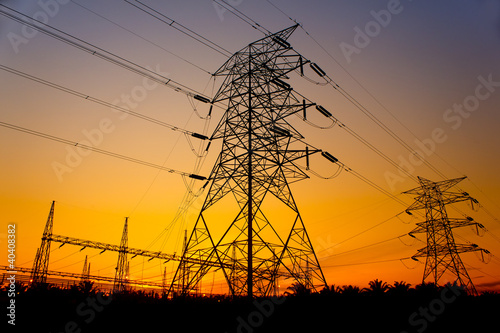sunset against pylon tower
