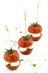 Finger food. Cherry tomatoes with mozzarella