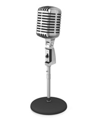 Classic microphone on black stand