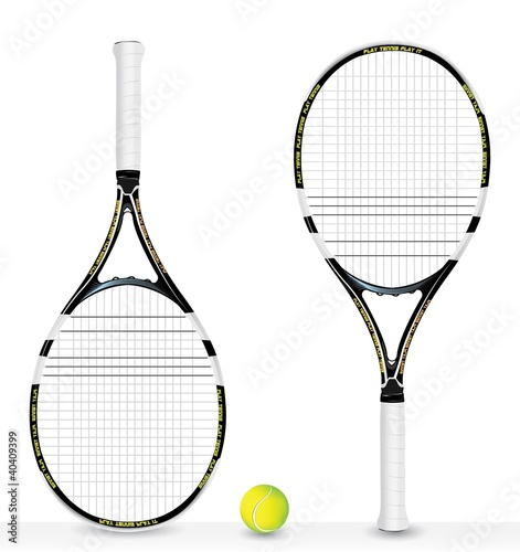 realistic tennis racket and ball - vector
