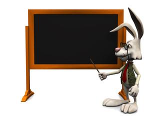 Cartoon rabbit pointing at blank blackboard.