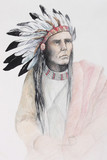 color drawing of american indian with feathers