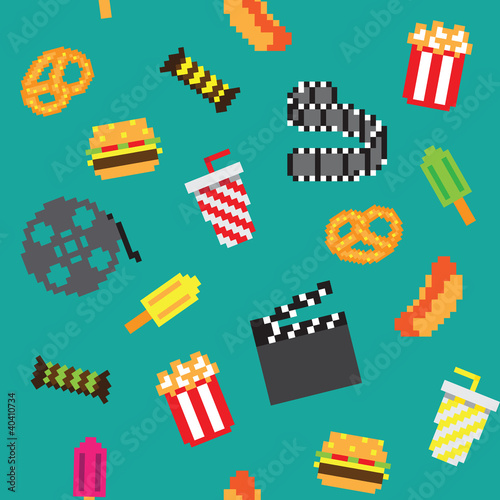 Foto op Canvas Pixel Movie seamless pattern