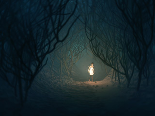 woman with lamp in the dark forest