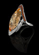 Precious Ring with brilliants and with topaz