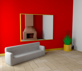 Room with fireplace and sofa - 3D
