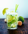Refreshing drink with fresh lime slices