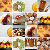 Collage dulces, postres, fruta