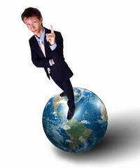 Businessman with our planet earth