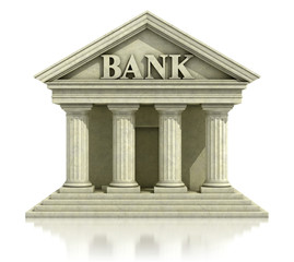 3d bank icon isolated on the white