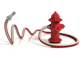Fototapety fire hydrant with fire hose 3d illustration