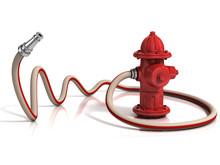 Hydrant z wężem pożaru ilustracji 3d