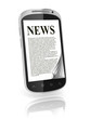 reading news on touch screen phone 3d concept