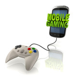mobile gaming 3d concept - smart phone with gamepad poster