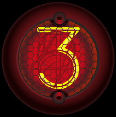 Digit 3 (three). Nixie tube indicator
