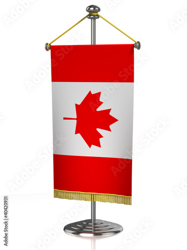 Canadian table flag isolated on white