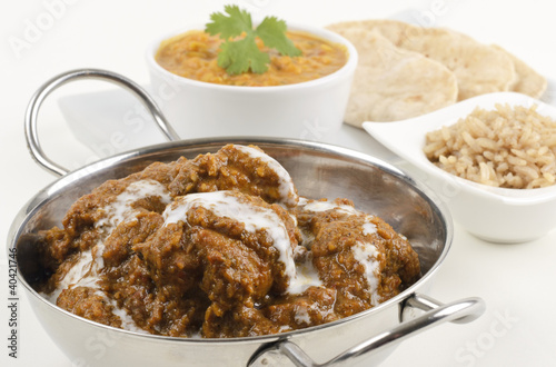 Goan Chicken Xacuti with coconut milk - rice, dahl & chapati