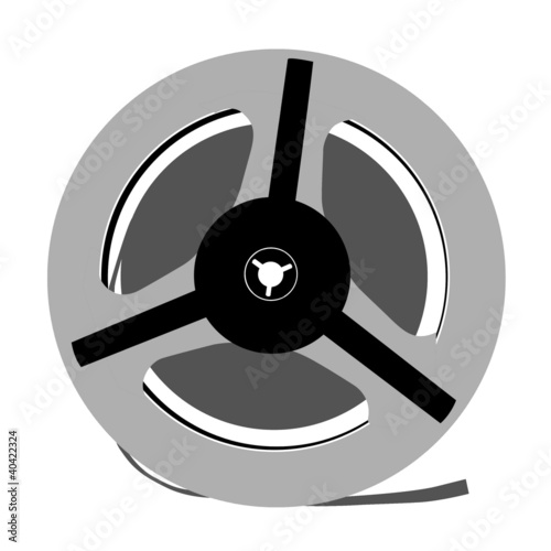 aging tape reel on white background