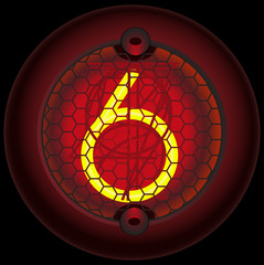Digit 6 (six). Nixie tube indicator